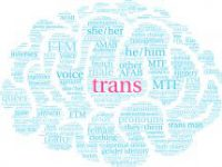 Trans word cloud su uno sfondo bianco.